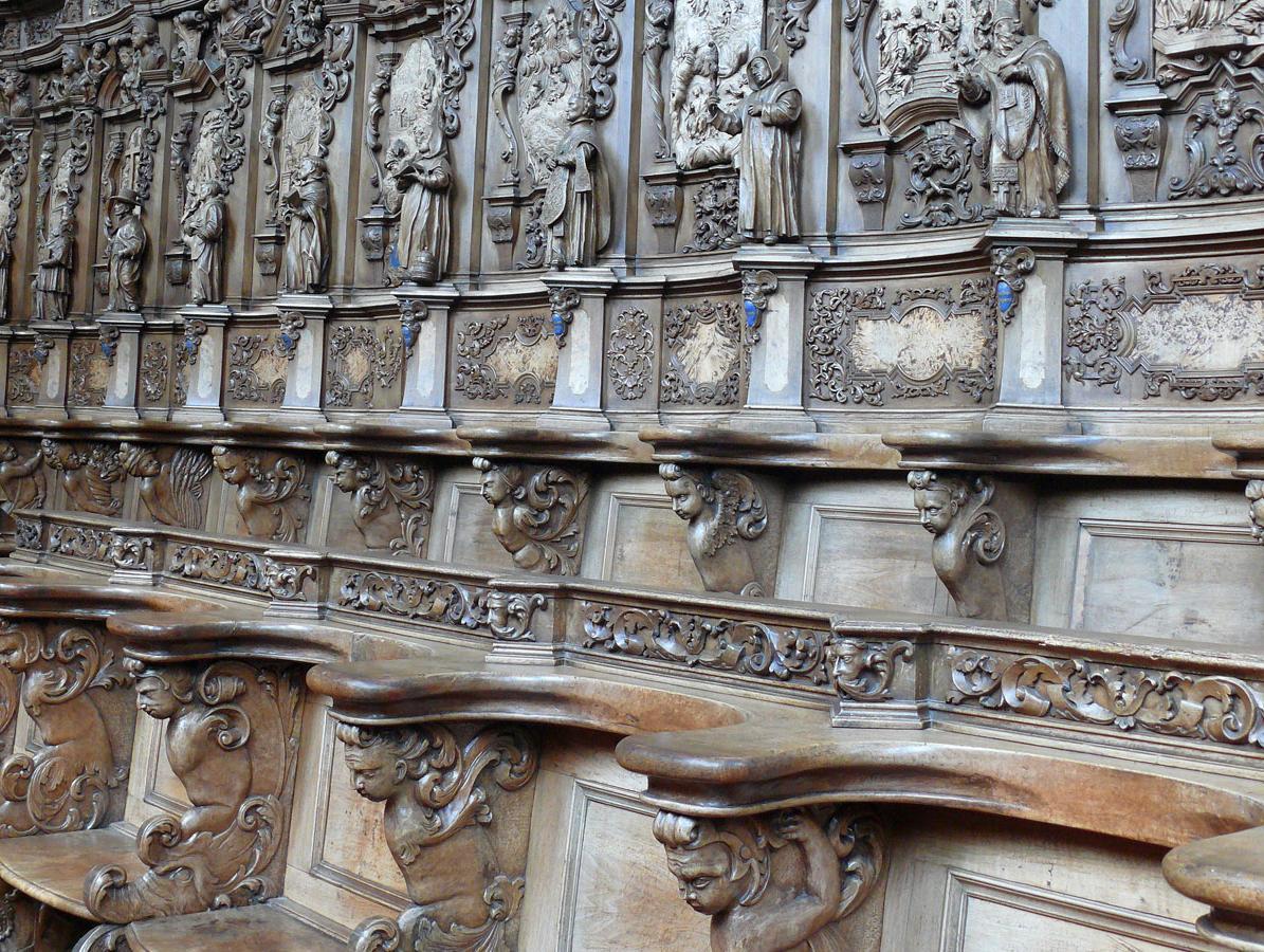 Detail des Chorgestühls auf der rechten Seite in der Kirche von Kloster Schussenried; Foto: Staatliche Schlösser und Gärten Baden-Württemberg, Ortsverwaltung Schussenried