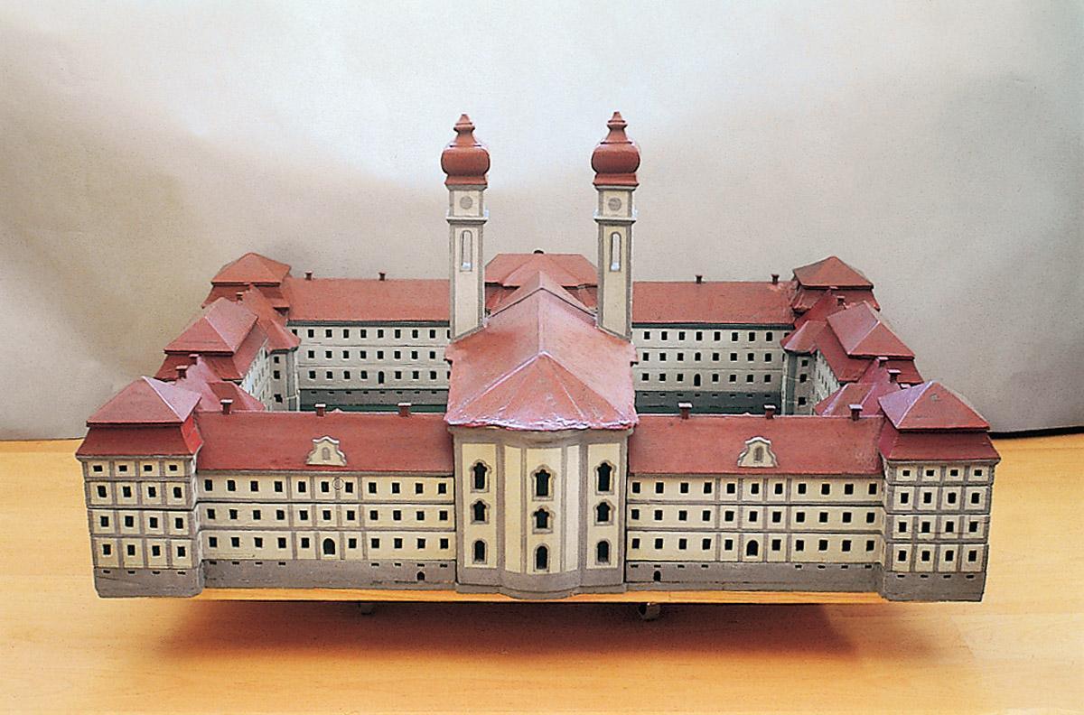 Hölzernes Architekturmodell des Prämonstratenserklosters Schussenried von Dominikus Zimmermann um 1749; Foto: Staatliche Schlösser und Gärten Baden-Württemberg, Joachim Moll