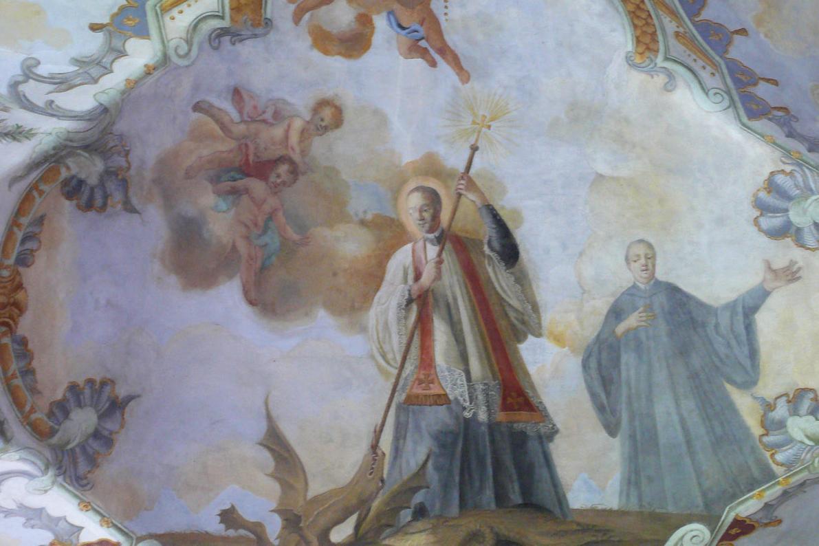 Fresko des heiligen Magnus im Seitenschiff der Kirche von Kloster Schussenried; Foto: Staatliche Schlösser und Gärten Baden-Württemberg, Ortsverwaltung Schussenried
