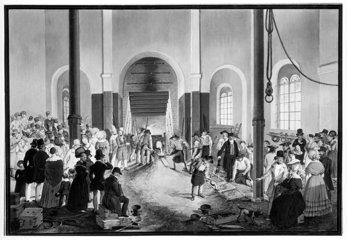 Gießer und Zuschauer in der Gießerei der Wilhelmshütte 1837/40, Ölgemälde; Foto: Landesmedienzentrum Baden-Württemberg, Robert Bothner