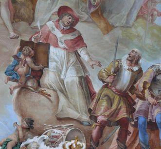 Detail des Deckenfreskos im Bibliothekssaal von Kloster Schussenried; Foto: Staatliche Schlösser und Gärten Baden-Württemberg, Ortsverwaltung Schussenried