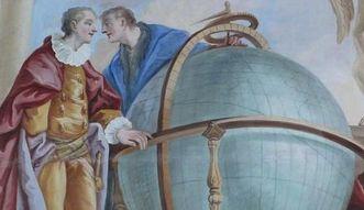 Die Erde, dargestellt als Globus, in einem Gemälde in der Galerie im Bibliothekssaal von Kloster Schussenried