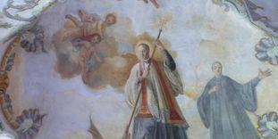 Fresko des heiligen Magnus im Seitenschiff der Kirche von Kloster Schussenried