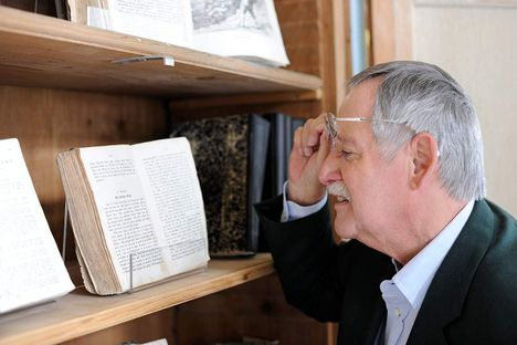 Schussenried monastery, visitor looking at a book