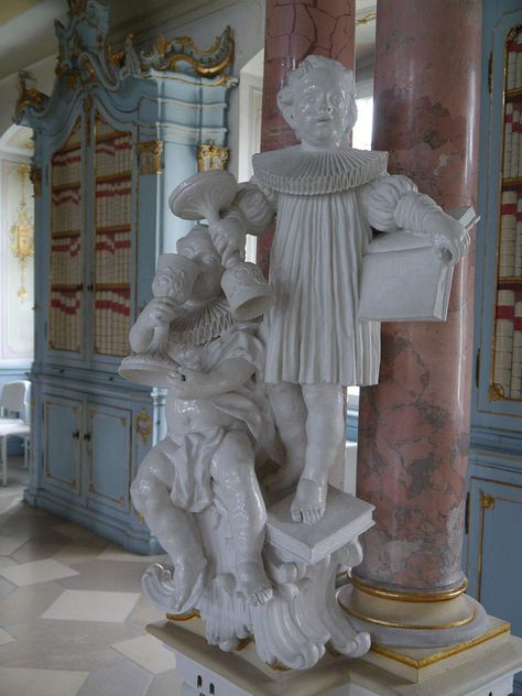 Schussenried monastery, statues in the library