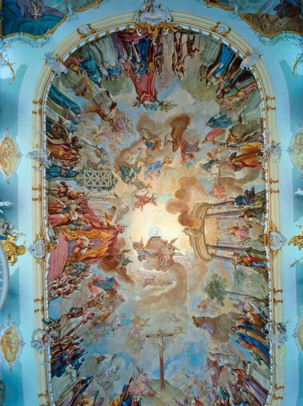 Schussenried monastery, painted ceiling in the library of Schussenried Monastery