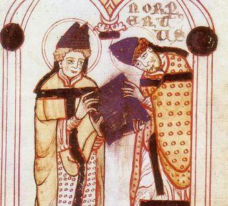 Norbert von Xanten erhält die Regeln vom heiligen Augustinus