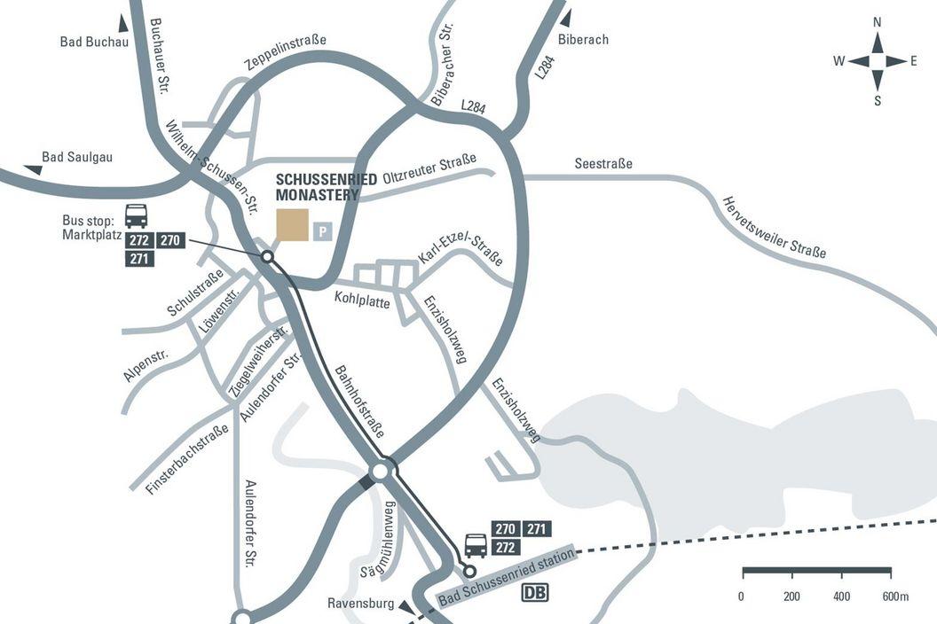 Road Map to Bad Schussenried Monastery, illustration: Staatliche Schlösser und Gärten Baden-Württemberg, JUNG:Kommunikation