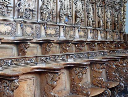 Detail des Chorgestühls auf der linken Seite in der Kirche von Kloster Schussenried; Foto: Staatliche Schlösser und Gärten Baden-Württemberg, Ortsverwaltung Schussenried