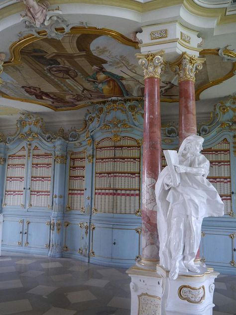Schussenried monastery, statue and columns in the library