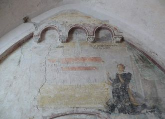 Wandfresko mit einer Darstellung der gotischen Kirche im Kreuzgang des Klosters Schussenried, um 1500; Foto: Staatliche Schlösser und Gärten Baden-Württemberg, Ortsverwaltung Schussenried