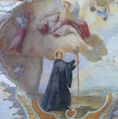 Magnus mit dem wundertätigen Stab, Detail des Deckenfreskos im Seitenschiff der Klosterkirche St. Magnus