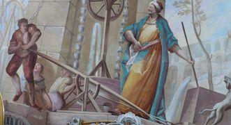 Allegorie des Elements Wasser in einem Gemälde in der Galerie des Bibliothekssaals von Kloster Schussenried