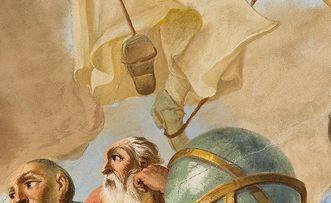 Hermann von Reichenau mit einem Globus im Deckengemälde des Bibliothekssaals von Kloster Schussenried; Foto: Tom Kohlbauer