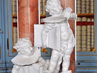 Kloster Schussenried, Detail, Lutheraner und Calvinisten im Bibliothekssaal