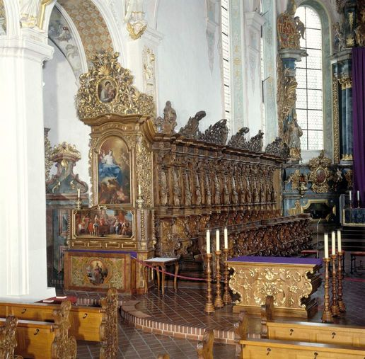 Schussenried monastery, view of the choir stalls in the monastery church