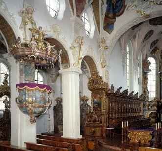 Kanzel und Chorgestühl in der Kirche von Kloster Schussenried; Foto: Landesmedienzentrum Baden-Württemberg, Arnim Weischer