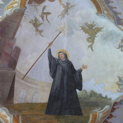 Magnus vertreibt das Ungeziefer, Detail des Deckenfreskos im Seitenschiff der Klosterkirche St. Magnus