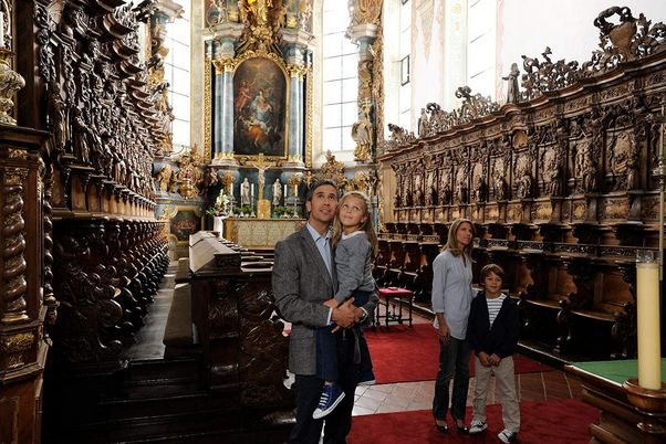 Schussenried monastery, visitors in the Church of St. Magnus in the monastery