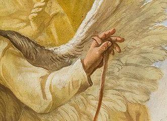 Pater Mohr mit selbst gebastelten Flügeln im Deckengemälde der Bibliothek von Kloster Schussenried; Foto: Tom Kohlbauer