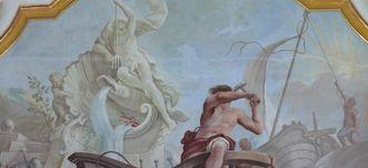 Allegorie des Elements Luft in einem Gemälde in der Galerie des Bibliothekssaals von Kloster Schussenried