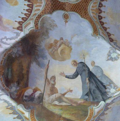 Magnus hilft einem Bettler, Detail des Deckenfreskos im Seitenschiff der Klosterkirche St. Magnus