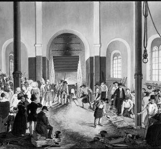 Gießer und Zuschauer in der Gießerei der Wilhelmshütte, 1837/40, Ölgemälde; Foto: Landesmedienzentrum Baden-Württemberg, Robert Bothner
