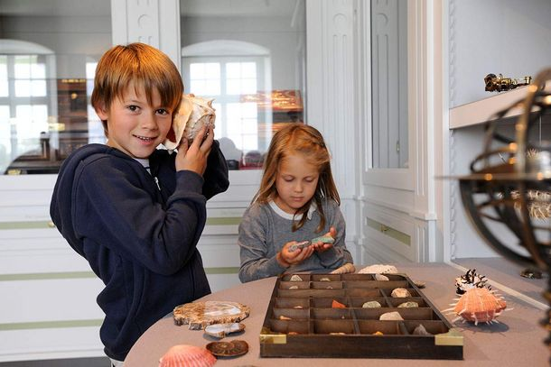 Schussenried monastery, children at an interactive station in the exhibition