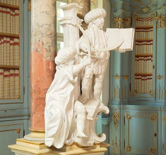 Türkengruppe an Säule im Bibliothekssaal von Kloster Schussenried