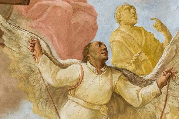 Pater Mohr ist mit selbst gebastelten Flügeln im Deckengemälde der Bibliothek von Kloster Schussenried dargestellt
